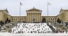 We might be getting tired of all this snow, but who really gets tired of sledding down the front steps of the Philadelphia Museum of Art?! Even if you are just watching on the news, it is a sight that never gets old!
