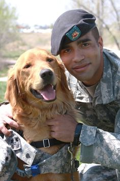 "Military Service dog, Dogs serving our country Cameron refers to his service dog Harper as his ""battle buddy."