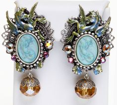 KIRKS FOLLY LORELEI MERMAID CLIP EARRINGS silvertone