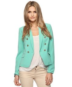 This is like a tuxedo jacket meets a pea coat meets some awesome minty-green-Tiffany-blue goodness.