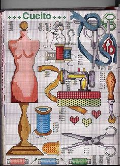 Cross stitch patterns of sewing stuff Cross Stitch Love, Cross Stitch Charts, Counted Cross Stitch Patterns, Cross Stitch Designs, Cross Stitch Embroidery, Embroidery Patterns, Loom Patterns, Cross Stitching, Needlework