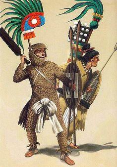 Aztec warriors - art by Dionisio Álvarez Cueto Aztec Empire, Inca Empire, Mexican Army, World Of Warriors, Ancient Aztecs, Aztec Culture, Inka, Aztec Warrior, Aztec Art
