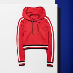 c404299f7f HILFIGER COLLECTION Cropped Signature Hoodie - TRUE RED - HILFIGER  COLLECTION Hilfiger Collection - main image