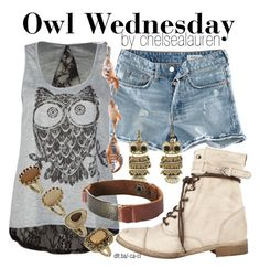 """""""Owl Wednesday [05]"""" by chelsealauren10 ❤ liked on Polyvore featuring H&M, Destined, AllSaints, Miso, Dorothy Perkins, denim shorts, antique rings, boots, owl and shorts"""
