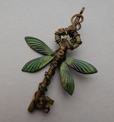 Large Dragonfly Winged Key Pendant  Green by silverowlcreations - gorgeous key! - fabulous shop!