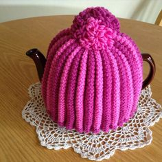 Two Shades of Pink Knitted Tea Cosy by blueshedcrafts on Etsy, £12.00