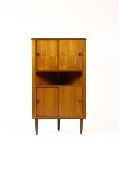 CORNER Danish Modern Mid Century Teak Upright Corner Cabinet Bar Double Height