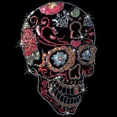 b20b7ff0eda Side View Sugar Skull WOMAN S LONG SLEEVE Rhinestone Stud T SHIRT  Graphic  on the