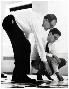 alexey brodovitch and richard avedon arranging the sequence of pages for avedons first book observations in avedons street studio new york city 1958 photograph by hiro Richard Avedon, Eugene Atget, Walker Evans, Robert Frank, Great Photographers, Portrait Photographers, Portraits, Alexey Brodovitch, Whiskers On Kittens
