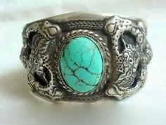 Men's tibet silver inlay turquoise cuff bracelet