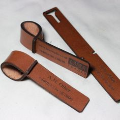 Personalised Leather Luggage Tags by CraftyLaser on Etsy
