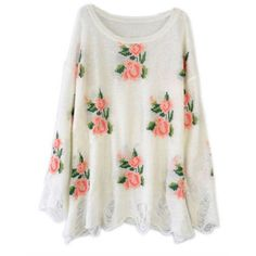 Slashed FLORAL Sweater In White from New Spirit Boutique
