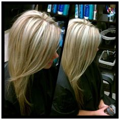Blonde highlights with caramel lowlights, perfect for fall