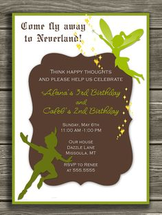 Peter Pan and Tinkerbell Invitation