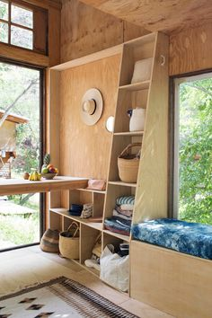 Somehow the unfinished plywood works in this Topanga Cabin tiny home. Click through for more images.