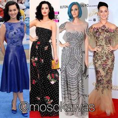 Mosokawas - Fashion Reviews Four Ladies Mosokawas Look: Best of @katyperry Photos: 1- @tadashishoji; 2- @oscardelarenta; 3- @blumarine; 4- @marchesafashion #style #fashion #instafashion #fashiongram  #instastyle #fashionshow #fashionista #hairstyle #infashion #instyle  #instalook #accessories #glow  #makeup #shoes #pinterest #mosokawas #lookoftheday #outfit #ootd #katyperry #birthday #smurfs #smurfete #blumarine #redcarpet #tadashishoji #marchesa #blumarine #oscardelarenta