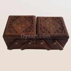 """This #jewelry box would make a great storage piece for #treasures. The carving is #floral and foliage in nature and although not created or carved by a """"fine"""" artist the primitive #nature of the wood carving is quite #beautiful. The #interior is lined with fabric."""