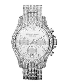 Michael Kors Mid-Size Silver Color Stainless Steel Layton Chronograph Glitz Watch.
