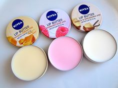 Love these Nivea Lip Butters...  Caramel Creme Kiss, Raspberry Rose Kiss, and Vanilla and Macadamia Kiss...  Smell amazing and also leave your lips feeling nice, soft and moisturised...