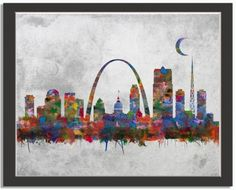 St Louis Missouri City Skyline Watercolor Faux Vintage Background Unframed Giclee Fine Art Print by Daniel Staniel Painting Lessons, Art Lessons, St Louis Skyline, Skyline Tattoo, Funny Owls, Missouri City, Thing 1, Faux Stone, Background Vintage