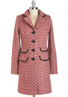 Zigzagging Across Town Coat. Your to-do list has you trekking all over town, but time spent in the chilly air is no matter since youre sporting this Louie et Lucie coat! #red #modcloth