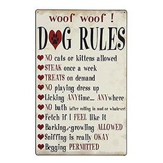 Dog Rules TIN SIGN pet lover gift funny metal poster vintage style home bar wall