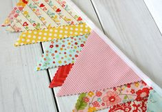 Bunting Banner, Vintage Fabric Banner, Girl Nursery Decor, Flowers, Floral, Birds, Pink, Red, Yellow  - The Sweetest Thing - Ready to Ship