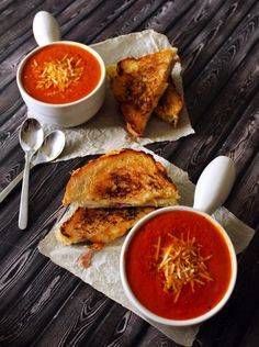 Thick & Creamy Tomato Basil Soup with Prosciutto, Apple & Gruyere Grilled Cheese