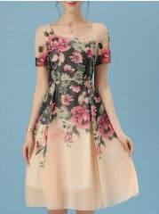 Chiffon Printed Round Neck  Skater-dress