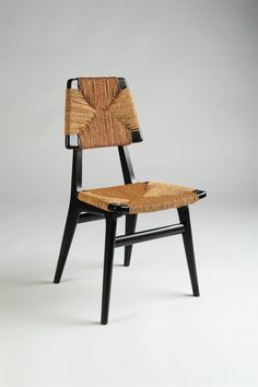Anonymous; Lacquered Wood and Seagrass Chair, 1950s.