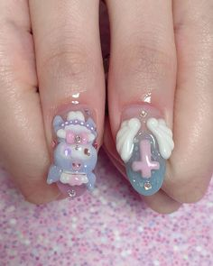 Cute Acrylic Nails, Cute Nails, Kawaii Nail Art, Sanrio, How To Cut Nails, Soft Nails, Korean Nails, Cute Nail Designs, Flower Nails