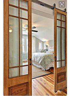 a great alternative to the standard interior door (via House of Turquoise) House Of Turquoise, Turquoise Walls, Style At Home, Chalet Design, House Design, Door Design, Interior Barn Doors, Interior French Doors, Country Interior