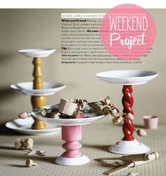 Poppytalk: Weekend Project: Cake Stands from Table Legs