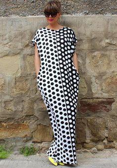 41b395a6 Black-White Polka Dot Print Round Neck Short Sleeve Loose Fashion Maxi Dress