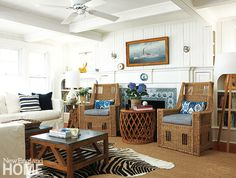 Seating arrangment in a smaller space and with a fireplace: Summer House on Marthas Vineyard - New England Home