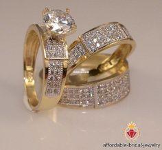14k Yellow Gold 2CT Round Diamond Engagement Wedding Band Bridal Trio Ring Set #affordablebridaljewelry