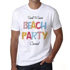 Carmel, Beach Party, White, Men's Short Sleeve Rounded Neck T-shirt 00279