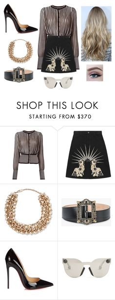 """""""Frances8"""" by martin18 ❤ liked on Polyvore featuring Alexander McQueen, Gucci, Valentino, Christian Louboutin and Christopher Kane"""