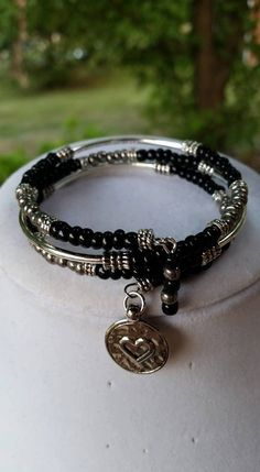 Heart Charm Seed Bead Memory Wire Bracelet