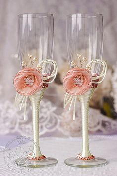 Flower wedding blush pink & ivory toasting by RusticBeachChic