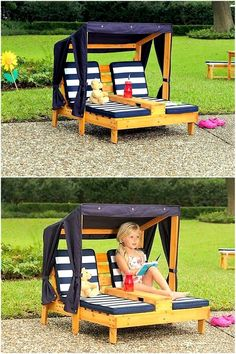 pallets patio sun lounger for kids