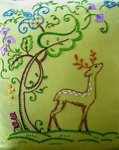 Woodland Deer Hand-Embroidered Cushion Cover