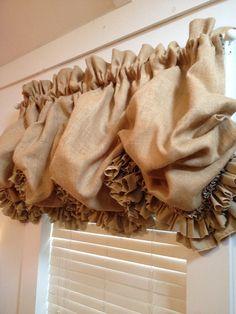 Burlap Balloon Curtain with Double Ruffle by MimiAndMe2 on Etsy, $119.00