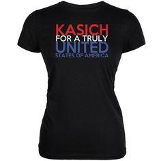 Election 2016 John Kasich Truly United Black Juniors Soft T-Shirt