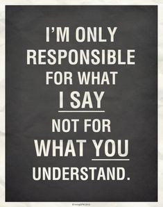 I'm NOT responsible for what YOU understand