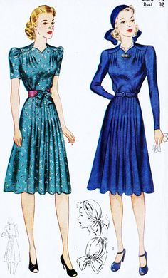 1940s Misses Afternoon Dress and Truban Vintage by MissBettysAttic