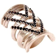House of Harlow Rose Gold Plated Chevron Ring ($56) ❤ liked on Polyvore