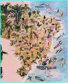 vecchia carta illustrata di download digitale di illustrazione Brasile di FrenchFrouFrou su Etsy https://www.etsy.com/it/listing/201865943/vecchia-carta-illustrata-di-download