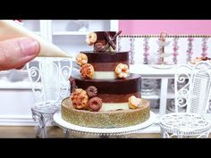 Miniature Triple Chocolate Layer Cake with chocolate decor - mini food ASMR Mini Chocolate Cake, Chocolate Roses, Chocolate Treats, Mini Wedding Cakes, Mini Cakes, Tiny Cooking, Real Food Recipes, Real Foods, Handmade Chocolates