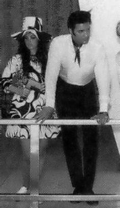 Elvis and Priscilla on board the USS Arizona Memorial, June 1968.